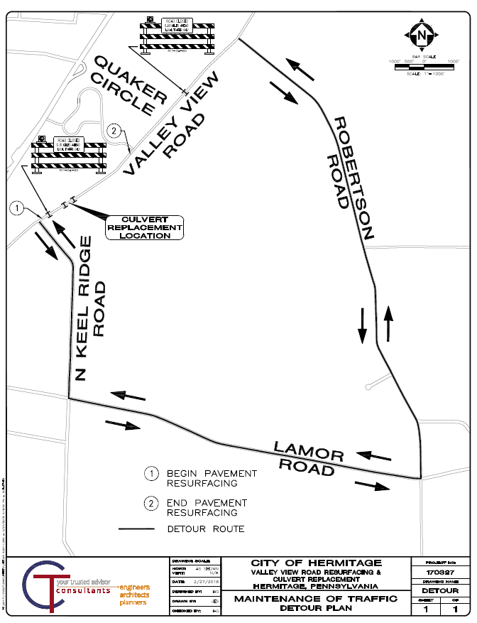 Valley View Rd Detour Map
