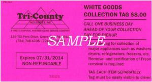 White Goods or Large Appliance Tag