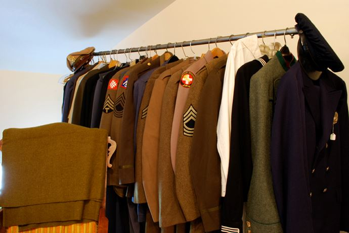 Uniforms on a rack
